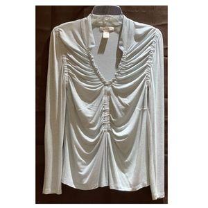 Ladies Kenar Long Sleeve Shirt Size Large Lt Gray